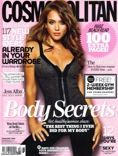 Jessica Alba with long brown hair and no bang, on the cover of Cosmopolitan