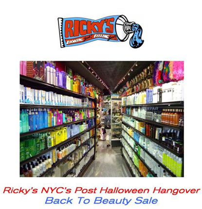 Ricky S Nyc S Post Halloween Hangover And Back To Beauty Sale